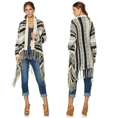 La Fee Verte Striped Cardigan with Fringe 471146-J -NI- (XS/S & XL/1X) $49.90