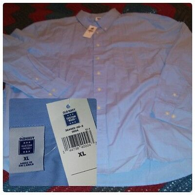 NEW NWT Old Navy Men's Long Sleeve Button Down Shirt blue Size XL 100% Cotton