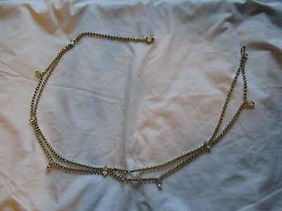 Vintage silvertone/rhinestone drape adjustable metal belt
