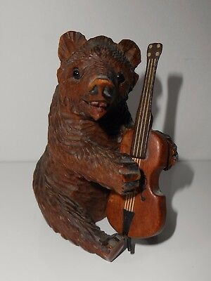 Antique Violin Playing Carved Swiss Black Forest Wooden Bear Glass Eyes Teeth