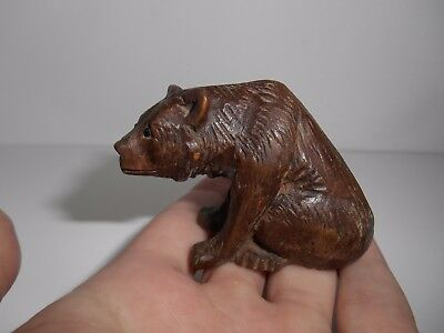 Antique Miniature Carved Swiss Black Forest Wooden Bear Hump Back Glass Eyes