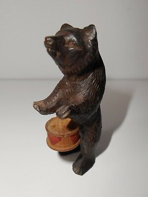 Antique Tiny Miniature Drummer Carved Swiss Black Forest Wooden Bear Musician