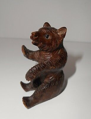 Antique Tiny Miniature Carved Swiss Black Forest Wooden Bear Glass Eyes