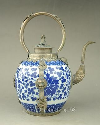Antique Collectible Handmade Silver & Porcelain Inlaid Teapot Blue and white