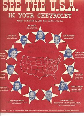 See The USA in Your Chevrolet Sheet Music,1950,GM,Ad Walters Chev,Camden,NY