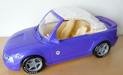 MATTEL BARBIE Purple FORD MUSTANG Convertible Cabriolet Car White Soft Cloth Top