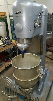 Hobart 140 qt V1401 Mixer with bowl, paddle, whip, and bowl dolly