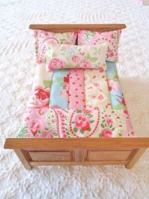 Dolls House Bedding Set 1/12th Patchwork Quilt Cath Kidston Fabric  SINGLE SIZE