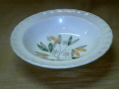Vintage Grindley GRI473 Rim Cereal Bowl-6 pc Green Yellow Black Leaves & Flowers