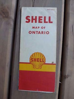 Road Map Ontario Canada Shell Gas Service Advertising 1966