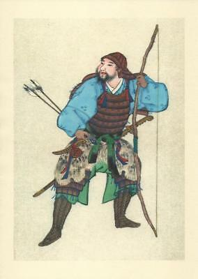 Japanese Reproduction Woodblock Print Warrior b3 Printed on A4 Parchment Paper
