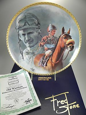 """Fred Stone Old Warriors Horse Collector Plate (#2243) 10""""(Signed Bill Shoemaker)"""