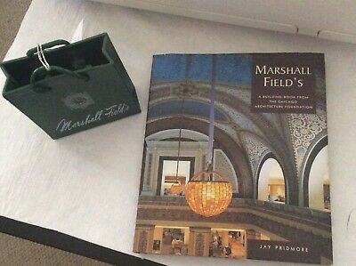 Marshall Field & Co 2 Pc Collection Shopping Bag Ornament & Awesome Fields Book