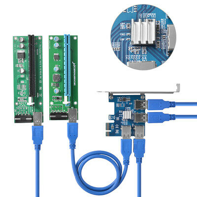 PCI-E to 4 Port USB 3.0 PCI-Express Riser Card Extender Adapter for Mining AC916
