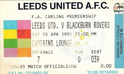 Ticket - Leeds United v Blackburn Rovers 15.04.95