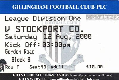 Ticket - Gillingham v Stockport County 12.08.00