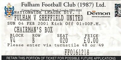 Ticket - Fulham v Sheffield United 04.02.01
