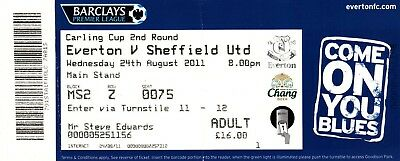 Ticket - Everton v Sheffield United 24.08.11 League Cup