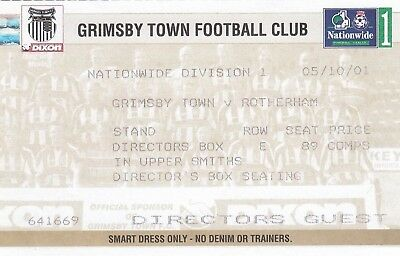 Ticket - Grimsby Town v Rotherham United 05.10.01