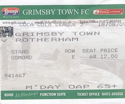 Ticket - Grimsby Town v Rotherham United 18.08.09