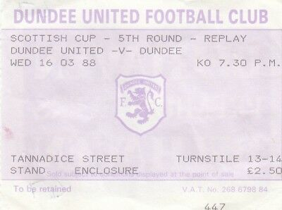 Ticket - Dundee United v Dundee 16.03.88 Scottish Cup