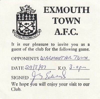 Ticket - Exmouth Town v Warminster Town 29.03.97