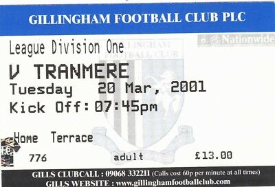 Ticket - Gillingham v Tranmere Rovers 20.03.01