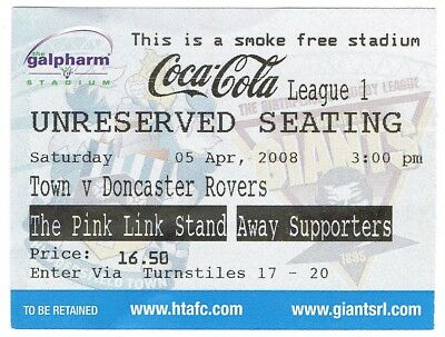 Ticket - Huddersfield Town v Doncaster Rovers 05.04.08