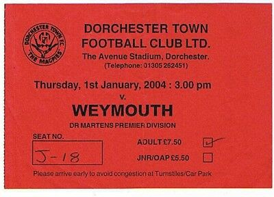 Ticket - Dorchester Town v Weymouth 01.01.04