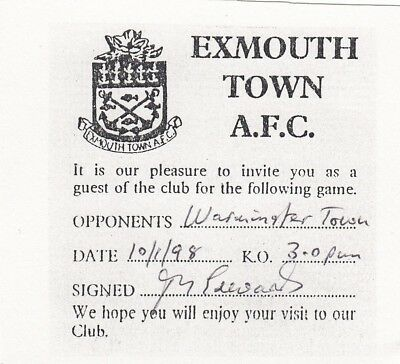 Ticket - Exmouth Town v Warminster Town 10.01.98