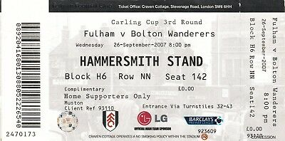 Ticket - Fulham v Bolton Wanderers 26.09.07 League Cup