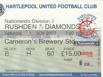 Ticket - Hartlepool United v Rushden & Diamonds 15.11.03