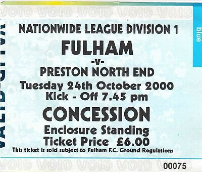 Ticket - Fulham v Preston North End 24.10.00