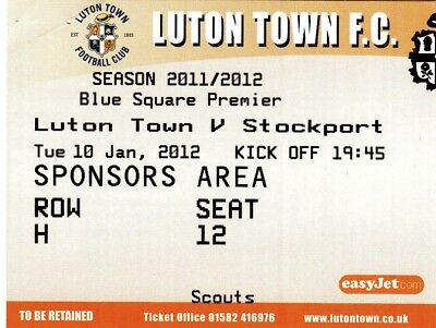 Ticket - Luton Town v Stockport County 10.01.12