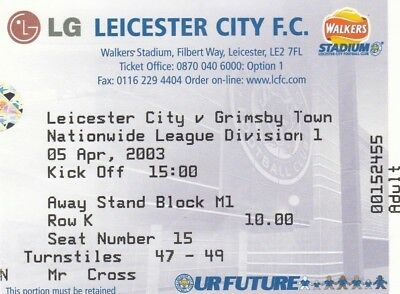 Ticket - Leicester City v Grimsby Town 05.04.03