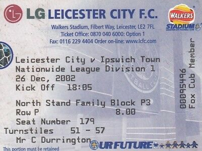 Ticket - Leicester City v Ipswich Town 26.12.02