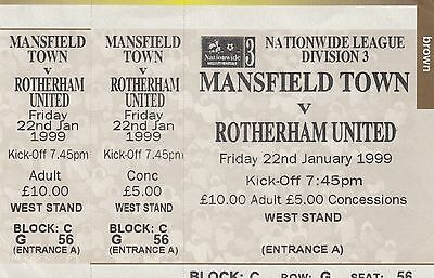 Ticket - Mansfield Town v Rotherham United 22.01.99