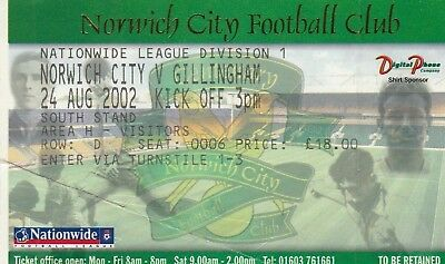 Ticket - Norwich City v Gillingham 24.08.02