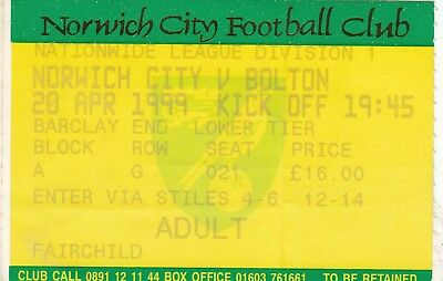 Ticket - Norwich City v Bolton Wanderers 20.04.99