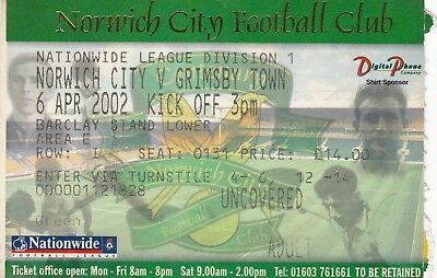 Ticket - Norwich City v Grimsby Town 06.04.02