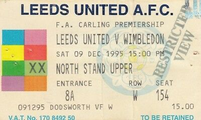 Ticket - Leeds United v Wimbledon 09.12.95