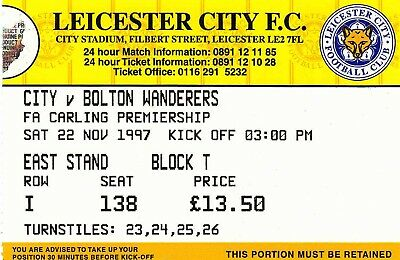 Ticket - Leicester City v Bolton Wanderers 22.11.97