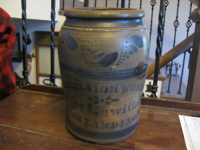 Antique Rare Stylized Blue Advertising Excelsior Works Isaac Hewitt Gallon Crock