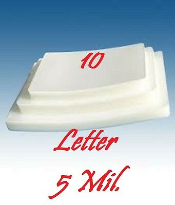 Letter Size 5 Mil (10 Pack) Laminating Laminator Pouches Sheets 9 x 11.50