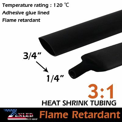 "240"" Red+Black 10ft/each Heat Shrink Tube 3:1 Ratio 1/4"" Adhesive Glue Lined"