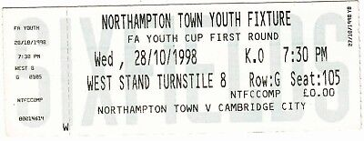 Ticket - Northampton Town Youth v Cambridge City Youth 28.10.98