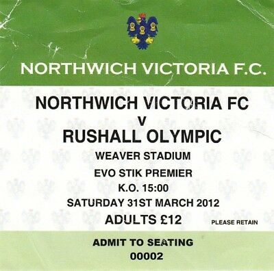 Ticket - Northwich Victoria v Rushall Olympic 31.03.12
