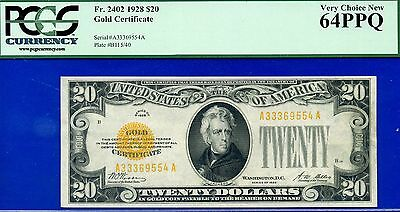 FR-2402 1928 $20 Gold Certificate PCGS Very-Choice-New 64PPQ # A33369554A