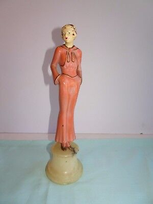 Antique VTG Painted Spelter Lead Statuesque Lady Figurine Marble Base Italy 1024