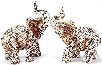 Feng Shui Lovely Pair of Elephant Trunk Statue Wealth Lucky Figurine Decor Gift
